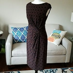 Ralph Lauren Geometric Pattern Faux Wrap Dress